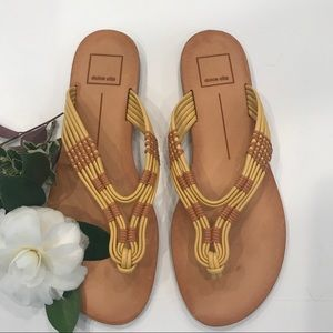 Dolce Vita braided yellow leather sandals